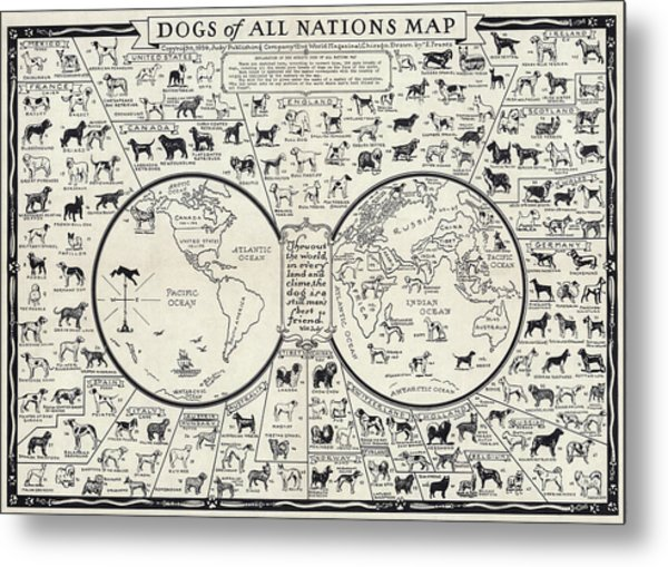 Dog Lovers Map 1936 Metal Print