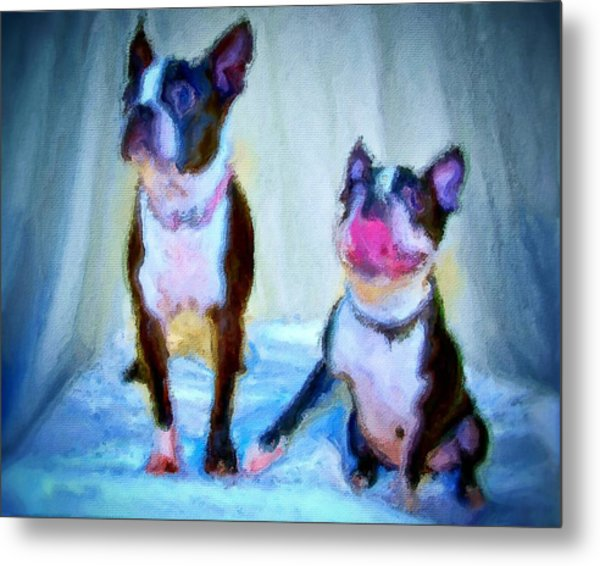 Dog Portrait Of Pets Super Cute Animals Painted On Canvas In Bright Colors Abstract And Texture With Pink Tongues And Happy Faces Seated On Cloth In Cool Tones Summer Blues True Friends Metal Print by MendyZ