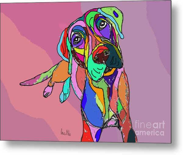 Dog Sketch Psychedelic  01 Metal Print