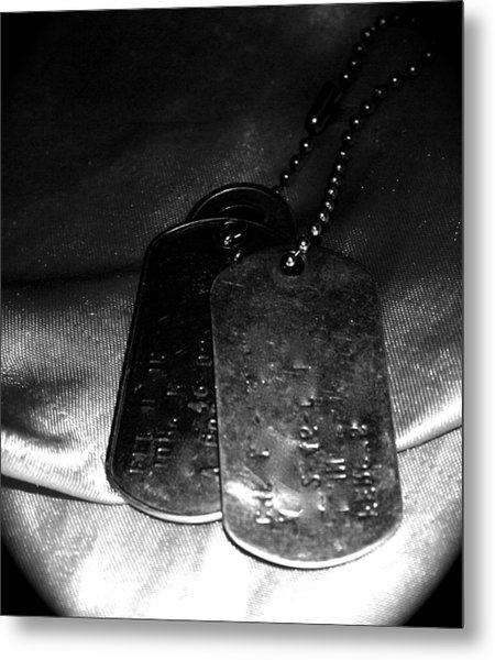Dog Tags In Black And White Metal Print by Aimee Galicia Torres
