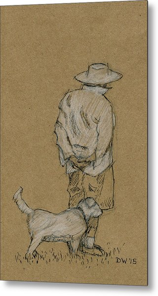 Dog Walker Plein Air Metal Print