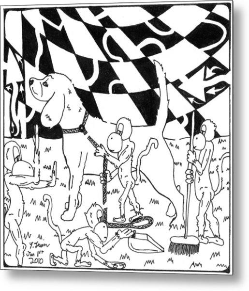 Dog Walking Monkeys Maze By Yonatan Frimer Metal Print by Yonatan Frimer Maze Artist