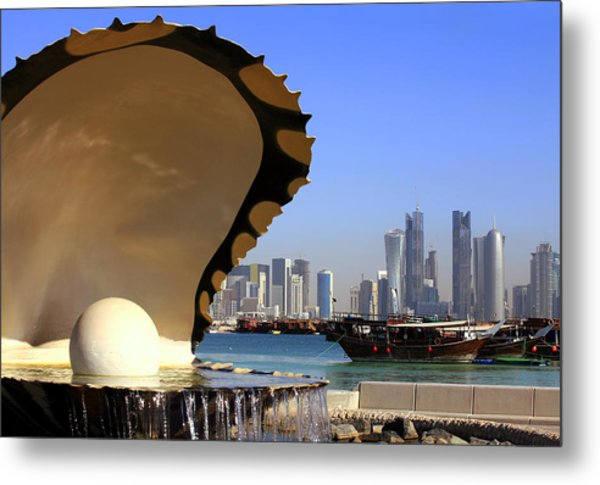 Doha Fountain Skyline And Harbour Metal Print