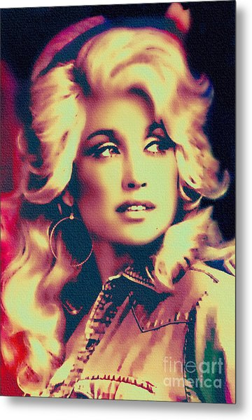Dolly Parton - Vintage Painting Metal Print