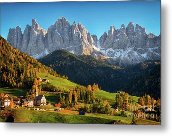 Dolomite Village In Autumn Metal Print