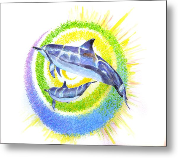 Dolphin -spiral Metal Print by Tamara Tavernier