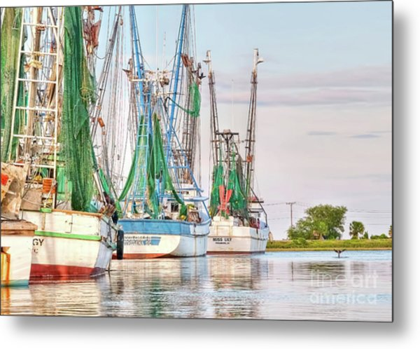 Dolphin Tail - Docked Shrimp Boats Metal Print