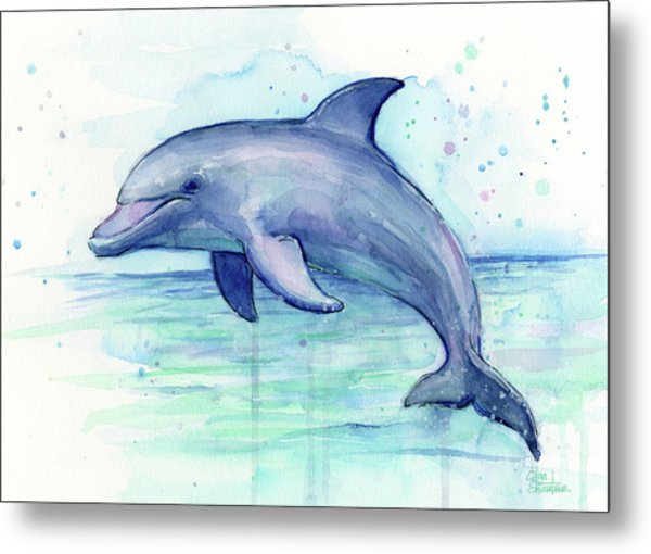 Dolphin Watercolor Metal Print