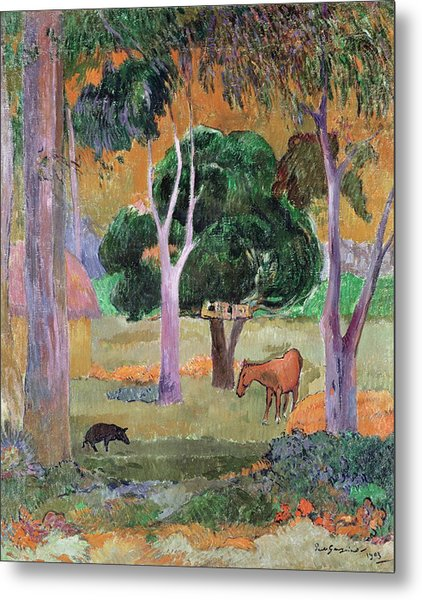 Dominican Landscape Or, Landscape With A Pig And Horse Metal Print