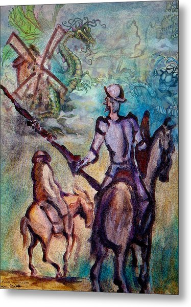 Don Quixote With Dragon Metal Print