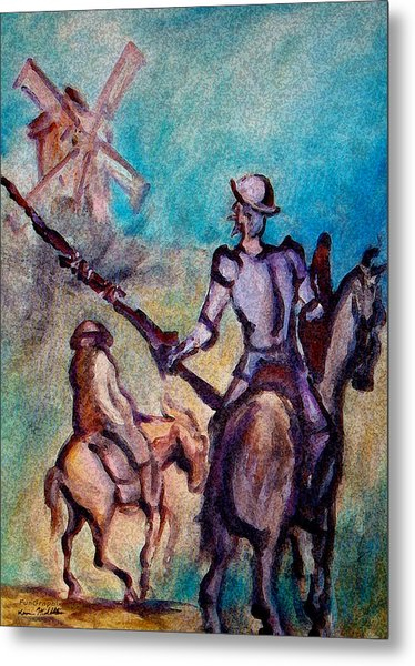 Don Quixote With Windmill Metal Print