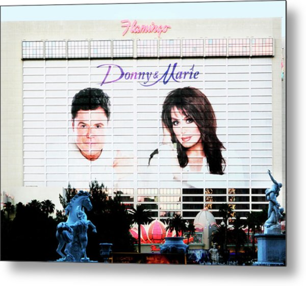 Donny And Marie Osmond Large Ad On Hotel Metal Print