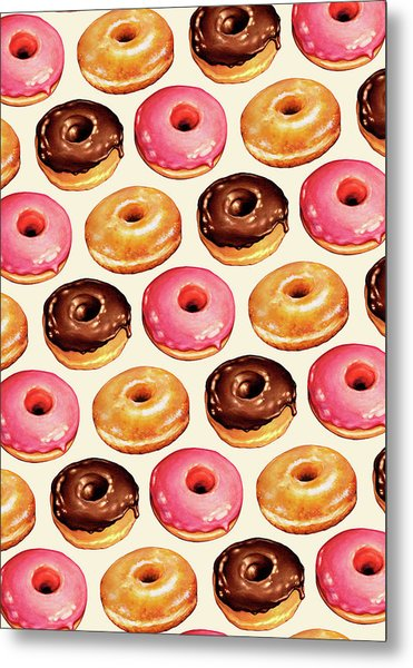 Donut Pattern Metal Print