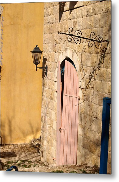 Door And Streetlight. Metal Print