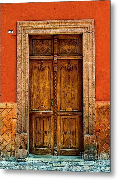 Door In Terracotta Metal Print by Mexicolors Art Photography