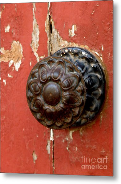 Door Knob On Red Door Metal Print