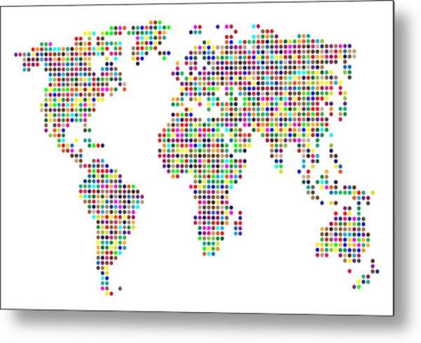 Dot Map Of The World - Colour On White Metal Print