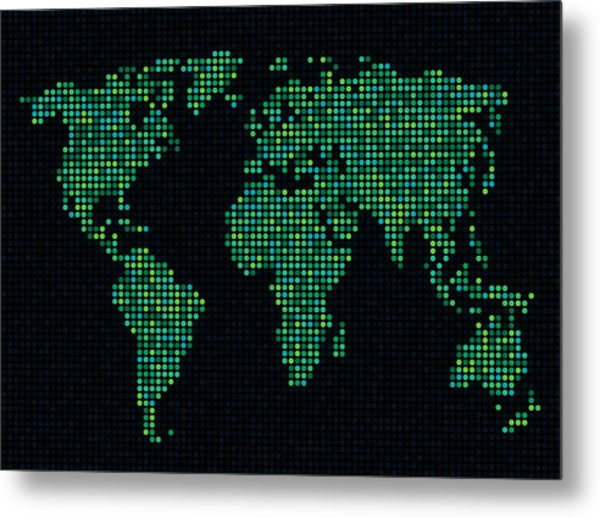 Dot Map Of The World - Green Metal Print