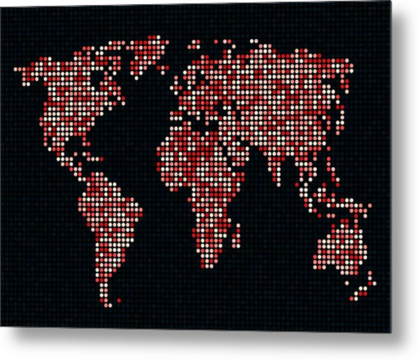 Dot Map Of The World - Red Metal Print