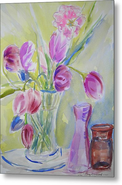 Dotty's Tulips Metal Print by Nancy Brennand