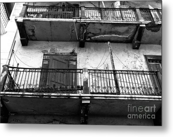 Double Balconies In Panama City Mono Metal Print by John Rizzuto