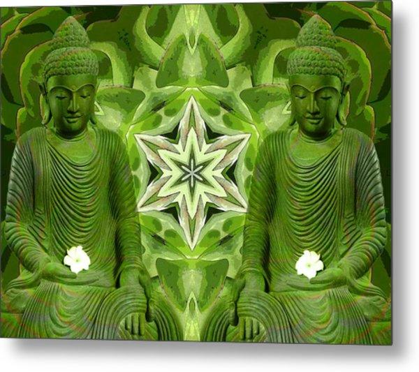 Double Green Buddhas Metal Print