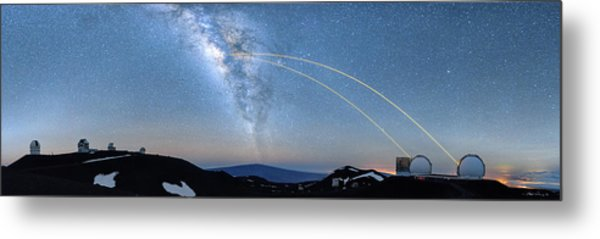 Double Lasers With The Milky Way Panorama Metal Print