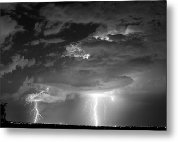 Double Lightning Strikes In Black And White Metal Print