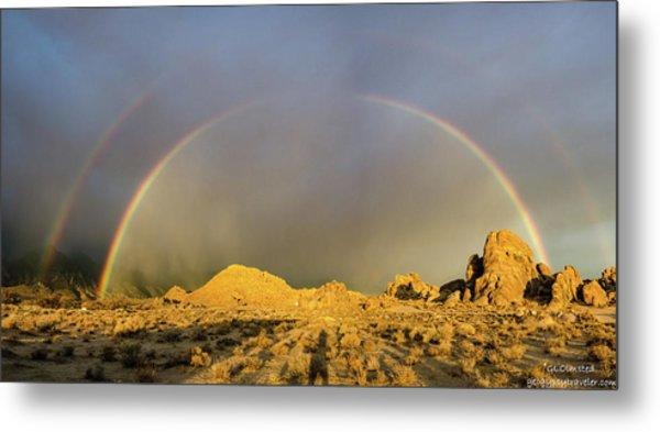 Double Rainbow Gold Metal Print