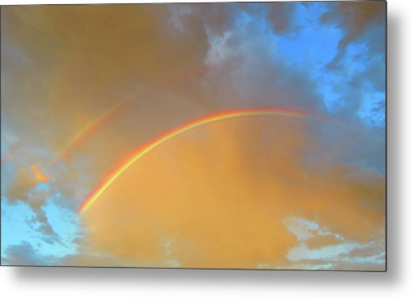 Double Rainbows In The Desert Metal Print