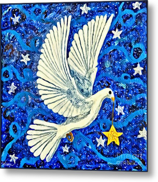 Dove With Star Metal Print