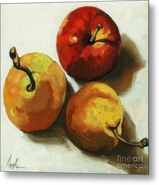 Down On Fruit - Pears And Apple Still Life Metal Print