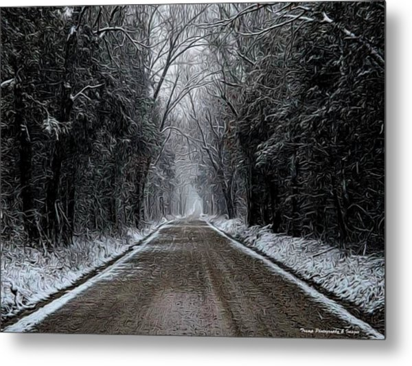 Down The Winter Road Metal Print