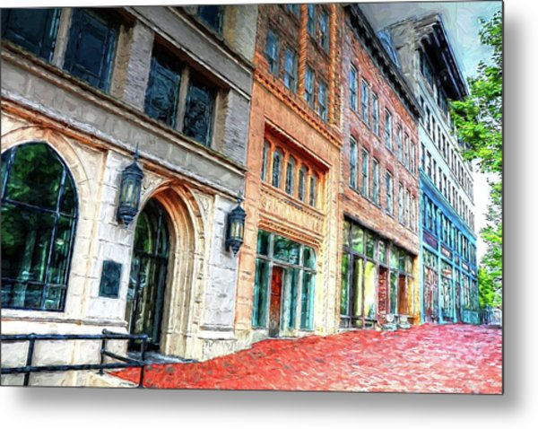 Downtown Asheville City Street Scene II Painted Metal Print