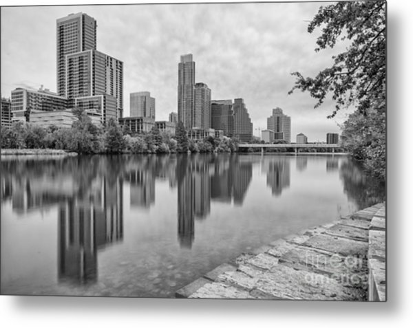 Downtown Austin In Black And White Across Lady Bird Lake - Colorado River Texas Hill Country Metal Print