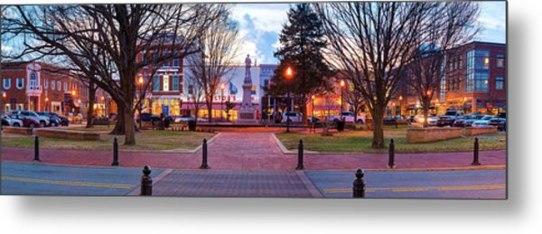 Metal Print featuring the photograph Downtown Bentonville Arkansas Town Square Panoramic  by Gregory Ballos