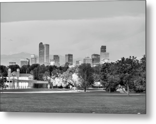 Downtown Denver Skyline - Black And White Metal Print