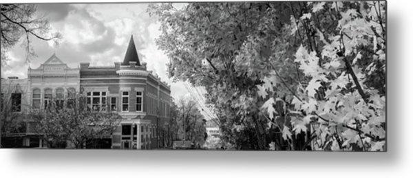 Downtown Fayetteville Arkansas Skyline Panorama - Black And White Metal Print