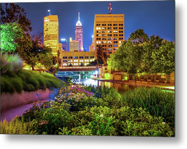 Metal Print featuring the photograph Downtown Indianapolis Skyline At Night by Gregory Ballos