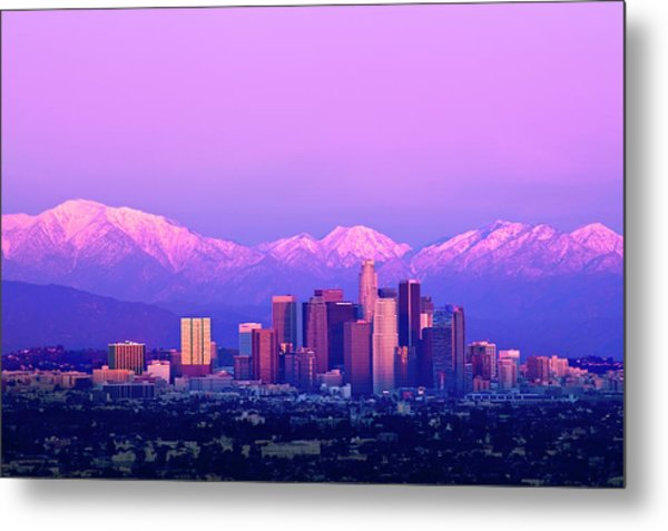 Downtown Los Angeles In Winter Metal Print
