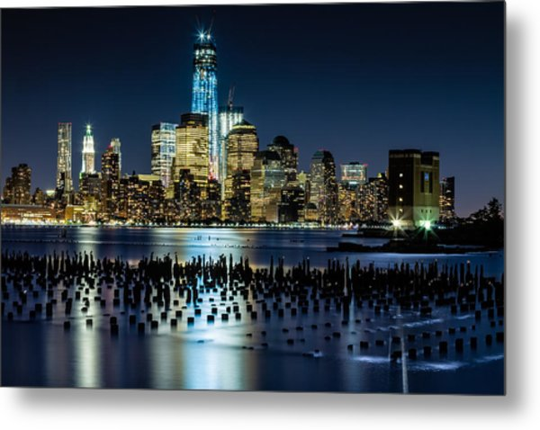 Downtown Manhattan And Old Pier Remains Metal Print