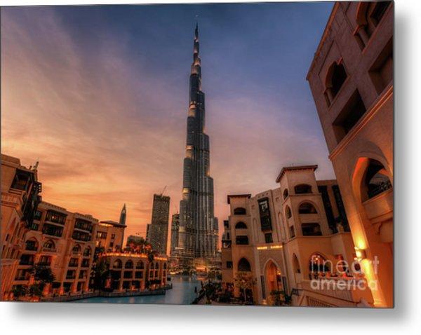 Downtown Of Dubai Showing Burj Khalifa And A Marvelous Dubai Skyline. Metal Print