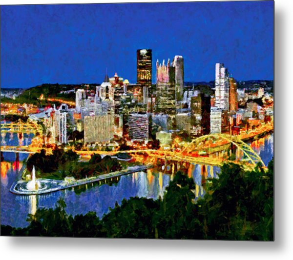 Metal Print featuring the digital art Downtown Pittsburgh At Twilight by Digital Photographic Arts