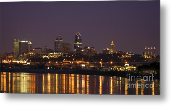 Downtown Reflections Metal Print