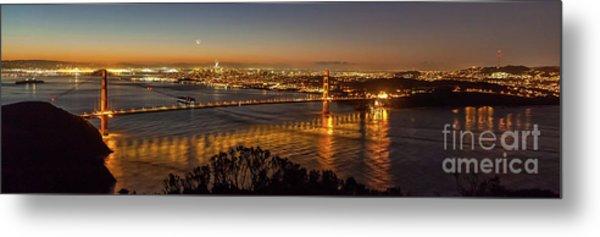 Downtown San Francisco And Golden Gate Bridge Just Before Sunris Metal Print