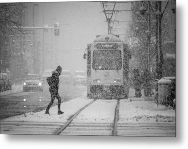 Downtown Snow Storm Metal Print
