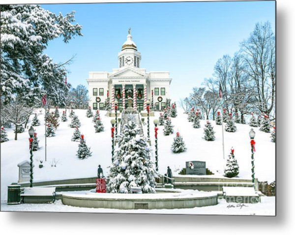 Downtown Sylva Courthouse Christmas 2016 Metal Print