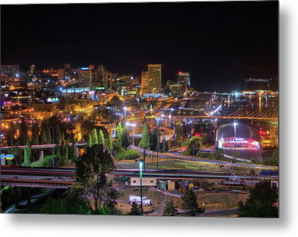 Downtown Tacoma Night Metal Print