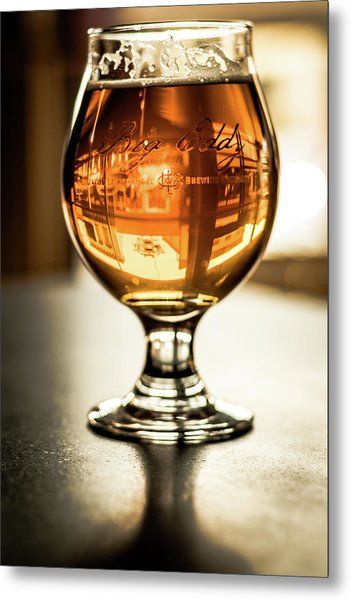 Downtown Waukesha Through A Glass Of Beer At Bernie's Taproom Metal Print