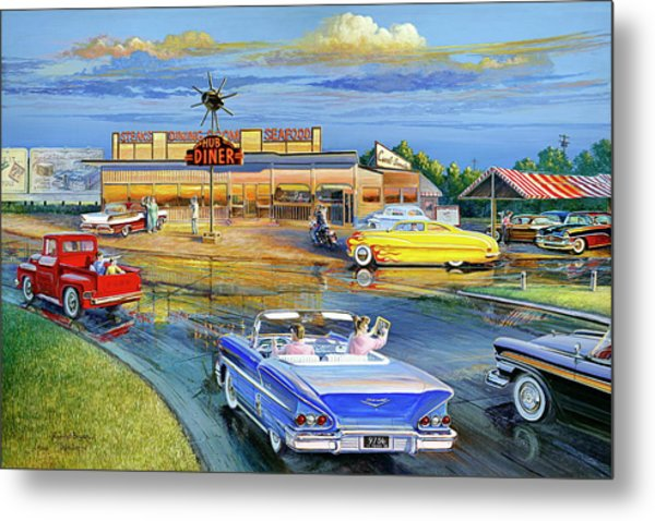 Dragging The Circle - Hub Diner Metal Print